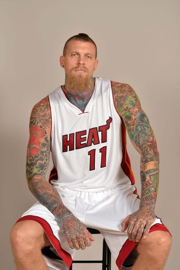 Sep 26, 2014; Miami, FL, USA; Miami Heat forward Chris Andersen (11) poses during media day at American Airlines Arena. Mandatory Credit: Steve Mitchell-USA TODAY Sports